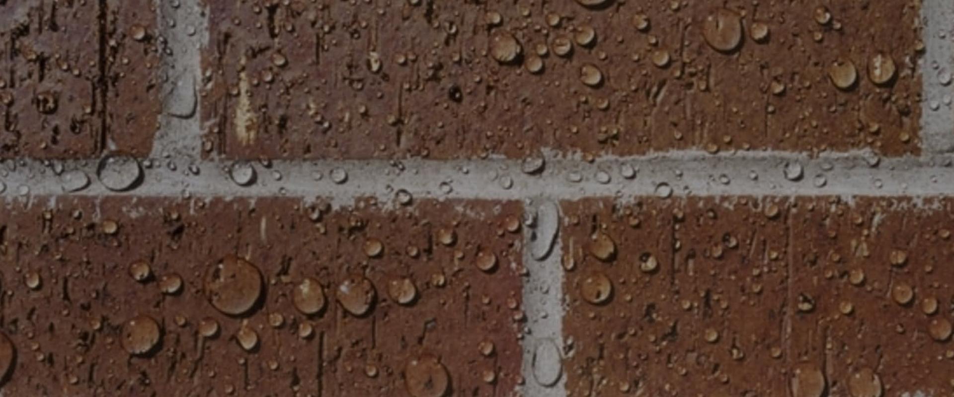 brick wall with raindrops